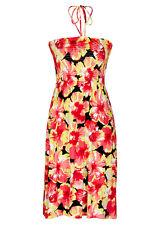 Pink flower sun holiday beach Maxi DRESS / SKIRT size 22 VISCOSE comfort