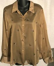 Jonathan Martin Studio Gold Sheer Button Front Blouse - L
