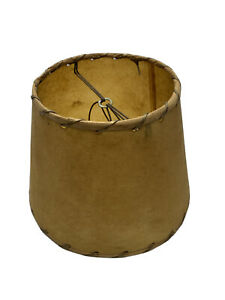 """Vintage western woven edge tan paper small  lampshade 6"""" lamp shade double wire"""