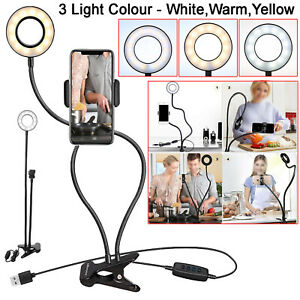 Long Arm Selfie Holder 24 LED Ring Flash Fill Light USB Clip Camera Phone Stand