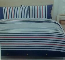 """ MARINE "" KING BED FLANNELETTE QUILT COVER. WHITE NAVY RED STRIPE. HARD TO FIND"