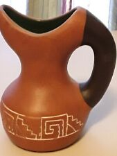Vintage Native American Ceramic Water Pitcher Signed By Eagle Eye. Free Shipping