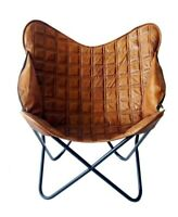 BROWNWOOD Butterfly Chair Iron Stand and Leather Cover Indoor Outdoor Chair