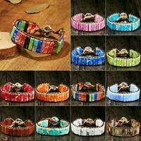 7 Chakra Bracelet Handmade Natural Stone Tube Beads Leather Wrap Women's Bangle