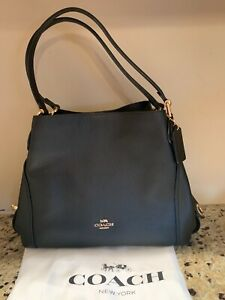 NWOT COACH BLACK PEBBLED  LEATHER  EDIE 31 SHOULDER HANDBAG WITH POUCH  $424.00