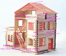 wooden puzzle dollhouse coloured wood large villa  kit