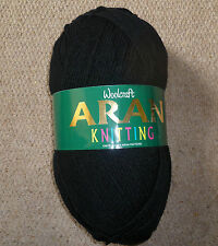 Woolcraft black Aran hand knitting wool/yarn 1x400grm ball shade 493