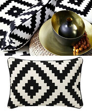IKEA cushion cover 26x16 black white 100% cotton pillow case Lappljung Ruta NWOT