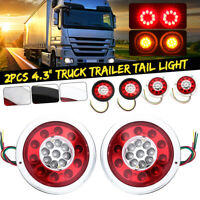 For Truck Caravan Boat 2Pc LED Round Trailer Tail Light Turn Signal Indicator