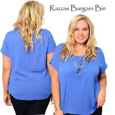 New Ladies Blue Top With Cut Out Front Plus Size 18/3XL (9842)MD