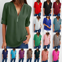 Women's V-Neck Zipper Pleated Loose Summer Shirts Ladies Long Sleeve Tops Blouse