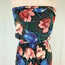 Abercrombie Fitch Floral Jumpsuit S Strapless Keyhole Back Wide Leg