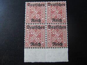 DEUTSCHES REICH WURTTEMBERG Mi. #58 mint MNH stamp block of 4! CV $36.00