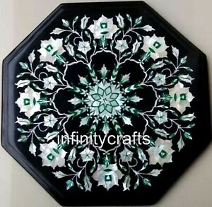 14 Inches Black Octagon Marble Table Top Semi Precious Stone Inlaid Coffee Table