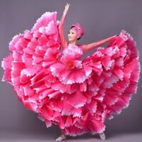Womens Modern Dance Dress Cha-cha Flamenco Petal Flower Skirt Ballroom Clothing