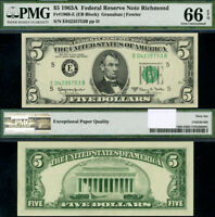 FR. 1968 E $5 1963-A Federal Reserve Note Richmond E-B Block Gem PMG CU66 EPQ