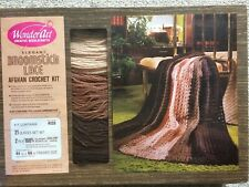 Vintage Broomstick Lace Afghan Crochet Kit Browns WonderArt Sealed