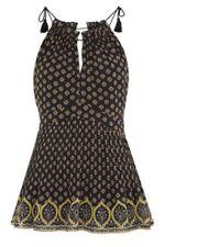 Whistles Nisha Empire Waist black patterned top size UK 8