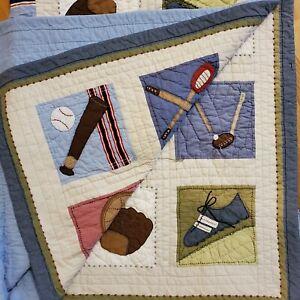 "Pottery Barn Sports Baseball Football Quilt Comforter 66x82"" Cotton Reversible"