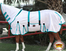 """78"""" HILASON UV PROTECT MESH HORSE FLY SHEET WITH NECK COVER & BELLY WRAP WHITE"""
