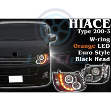 COB Angel Eye DRL LED Projector Headlight Black H For TOYOTA Hiace 200 VAN 11-13