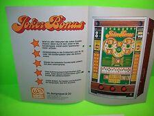 Bergmann Automaten JOKER BONUS Original Slot Machine Flyer German Text Rare 1978