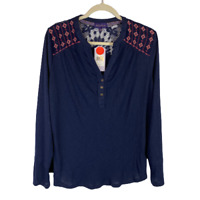 Artesia Embroidered Henley Top Shirt Long Sleeve Midnight Blue Size X-Large