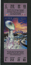 Super Bowl XXVI full unused football ticket Redskins Bills Near Mint Metrodome