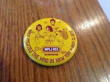 "The Who Vintage March 10,1976 Concert Pin Button Wplj New York 2 1/4"" Nos"