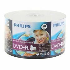 1000 Philips DVD-R 16X White inkjet printable 4.7GB free Expedited Shipping