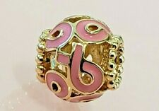 PANDORA | 14K GOLD PINK RIBBON CHARM *NEW* 750805EN24 RARE RETIRED BREAST CANCER