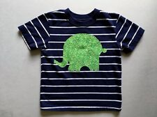 Toddler Boy's ss tee, size 2T, navy w/white, ready made, green elephant applique