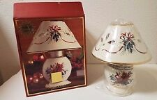 """Lenox """"Winter Greetings"""" Cardinal And Holly Candle Lamp New In Box."""