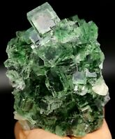 2.3LB Rare Transparent Green Fluorite & Calcite Crystal Mineral Specimen/China