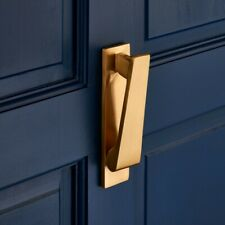 Vertical Sleek Slim Brushed Brass Door Knocker