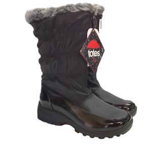 Totes Carmela Women 8.5 M Quilted Snow Boots Black Waterproof Faux Fur Vegan NEW