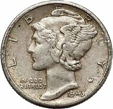 Mercury Winged Liberty Head 1943 Dime United States Silver Coin Fasces i43098