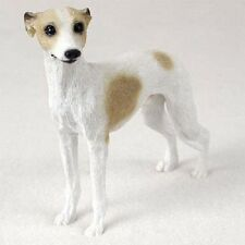 Whippet Dog Hand Painted Figurine Resin Statue Collectible Tan Brown White puppy