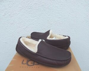 UGG WIDE ASCOT CHINA TEA LEATHER/ WOOL SLIPPERS, US 9 3E/ EUR 42 ~FIT SMALL ~NEW