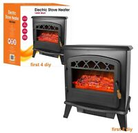1.8KW Black Log Burning Flame Effect 1850W Electric Fire Heater Fireplace Stove