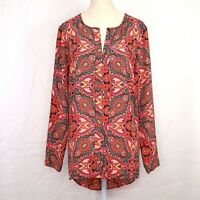 New Rose and Olive Pink Black Paisley Print Blouse Size Medium Women Keyhole nwt