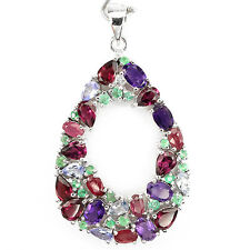 NATURAL AMETHYST,RHODOLITE,RUBY,TANZANITE,EMERALD 925 SILVER BIG PENDANT ChainFr