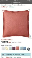 Jc Penney Pillow Euro Sham Coral Ridge New W Tags Embroidered