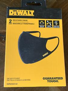 NWT DEWALT BREATHABLE FACE MASK GUARANTEED TOUGH WASHABLE 2 PACK BLACK