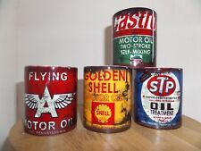 SET OF 4 RETRO VINTAGE OILCAN MUGS SHELL STP CASTROL FLYING A OIL CAN DISTRESSED