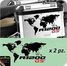 2 Adesivi Stickers Planisfero Moto NEW BMW R 1200 LC gs valigie adventure GS Red