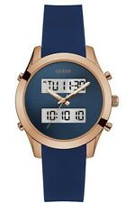 GUESS WOMEN'S NAVY AND ROSE GOLD-TONE DIGITAL ANALOG WATC U0894L3 Silicone Band