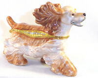 Wind Cocker Spaniel Dog Trinket / Jewelry Box Pewter Bejewele Kingspoint