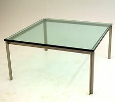 Stainless Steel Square Table Glass by William Katavolos, Laverne erwin estelle