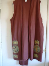Pant's Suit Sleeveless Cover Sz S Cotton Browns 3 Piece Set Casual Inseam 28